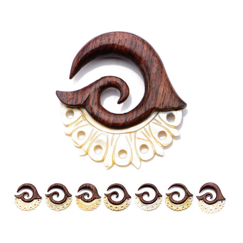 Hand Carved Arang Wood Aztec Shield Hanger with Mother Of Pearl Inlay 7 Sizes to Choose From - Sold as a Pair