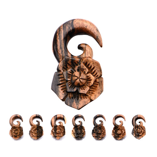 Hand Carved Arang Wood Large Flower Hanger 7 Sizes to Choose From -  Sold as a Pair