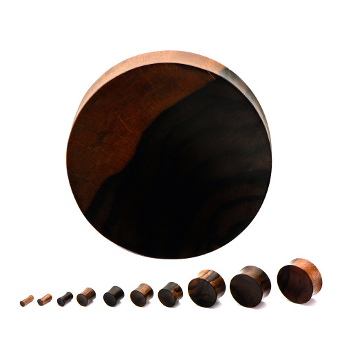 "Double Flared Concave Ebony Wood Plugs (6GA/4mm - 2""/50mm) Sold in Pairs"