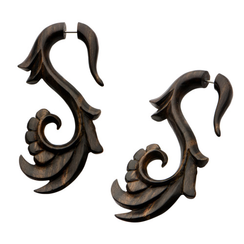 "18g Hand Carved Arang Wood Filigree ""S"" Faux Hanger - Sold as a Pair"