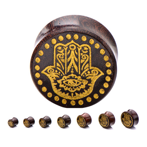 Double Flared Dark Tamarind Wood Plugs with Gold Hamsa Front - Sold as a pair