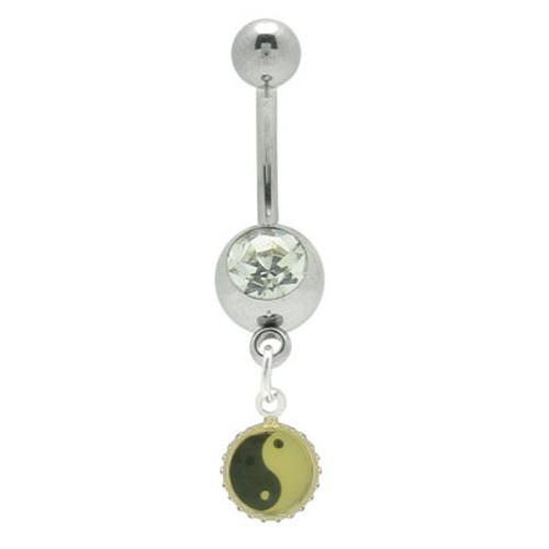 14 gauge Yin Yang Jeweled Navel Ring