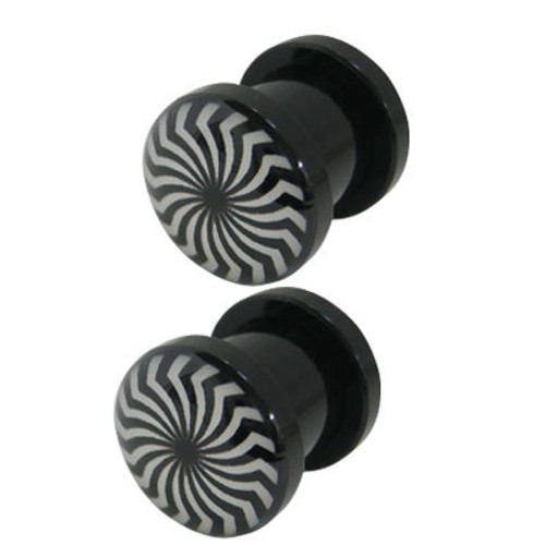 Pair of Zebra Stripes Acrylic Screw Fit Ear Plugs