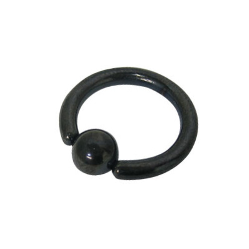 Anodized Black Titanium Captive Bead Ball Closure Ring (10 G)
