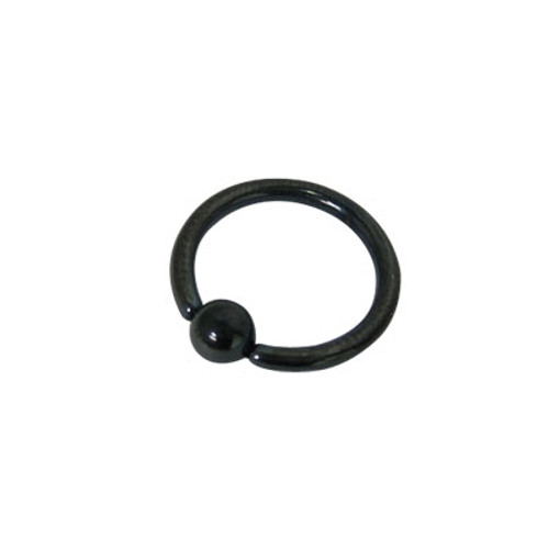 Anodized Black Titanium Captive Bead Ball Closure Ring (14 G)