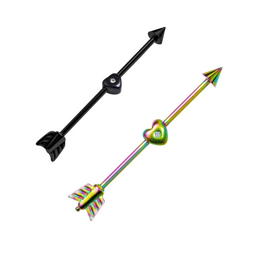 Arrow and Heart Anodized Titanium Industrial Barbell Black and Rainbow  14ga - 2pc