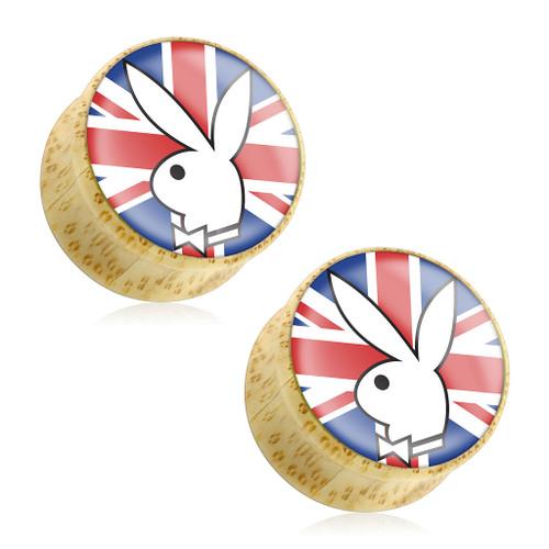 Playboy Bunny Logo on Union Jack Print Wood Saddle Plug