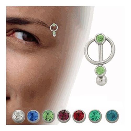 Door Knocker Eyebrow Ring 316L Surgical Steel with Jewels