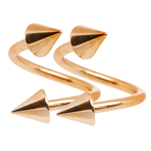 Pair of Twister Rings - 16ga Rose Gold I.P. - Perfect for Lip, Cartilage, Eyebrow Piercings-1