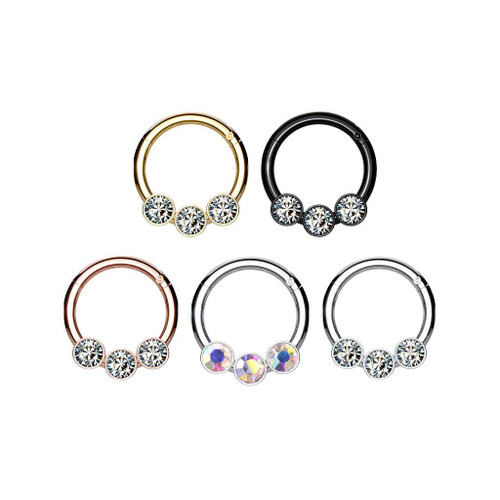 3 Bezel Set Crystals on Surgical Steel Hinged Segment Hoop Rings