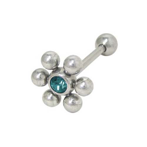 Barbell Tongue Ring Surgical Steel with Jeweled Flower Design-3
