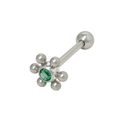 Barbell Tongue Ring Surgical Steel with Jeweled Flower Design-5