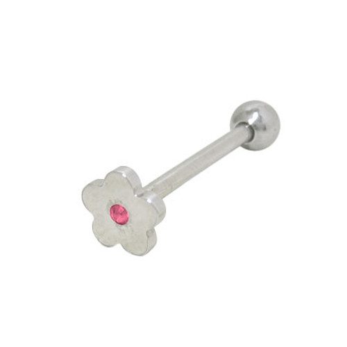 Barbell Tongue Ring Surgical Steel with Flat Head Jeweled Flower-1