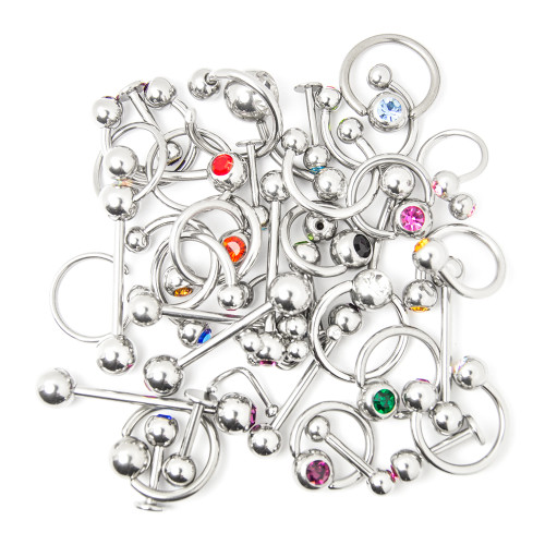 Wholesale Body Jewelry - 40 Pieces Mixed 316L Surgical Steel - Lip, Ear, Nipple, Tongue, Nose