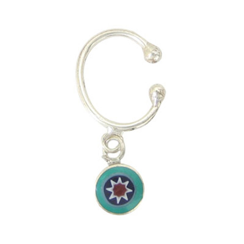 Belly Button Clip Sterling Silver Non-Piercing with Enamel / Dangling Design-1