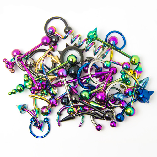 Wholesale Body Jewelry 20 Pieces Mixed Anodized Titanium   Lip Ear  Nipple  Tongue