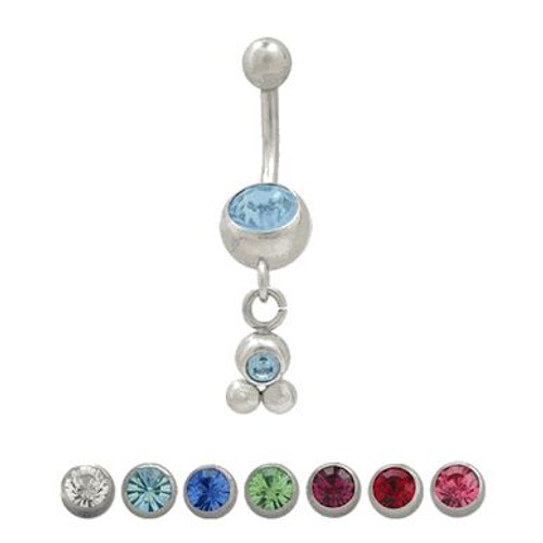 (14 Gauge) Belly Button Ring Surgical Steel Dangling Design-1