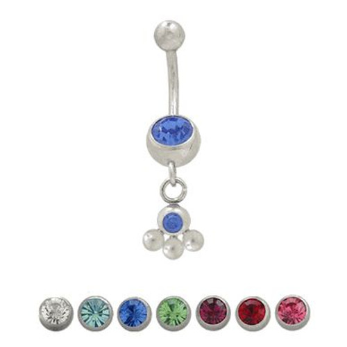 (14 gauge) Belly Button Ring Surgical Steel Dangling Design with Jewels-1
