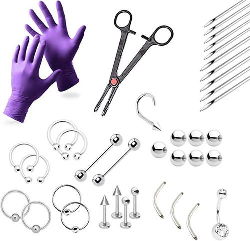 LionGothic Professional Piercing Kit 38 Pieces