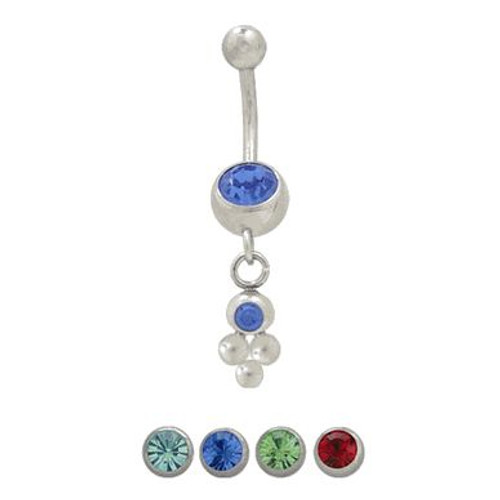 (14 gauge) Belly Button Ring Surgical Steel Dangling Design with Jewels-2