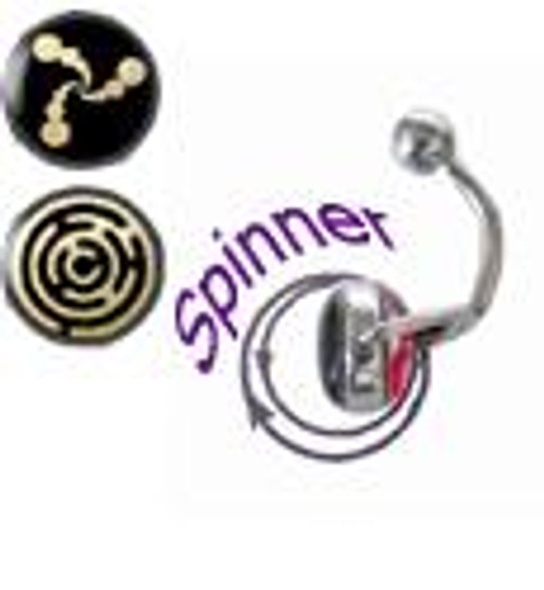 14 gauge Belly Button Ring surgical steel with spinner and holographic design-1