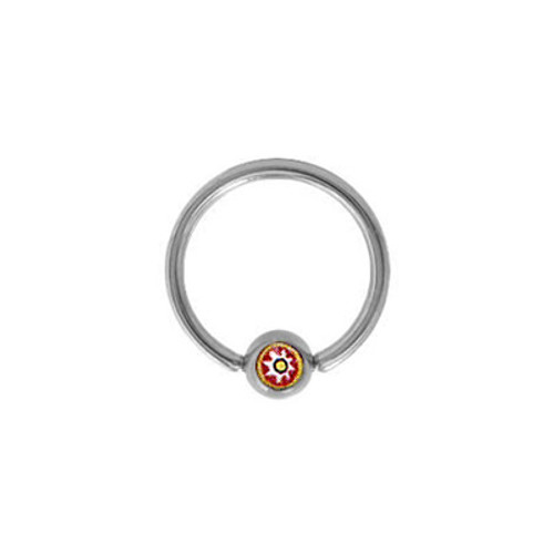 Surgical Steel Captive Bead Ring with Flower Logo Bead-1