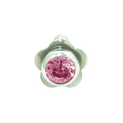 Barbell Tongue Ring Surgical Steel with Flower and Jewel Design-4