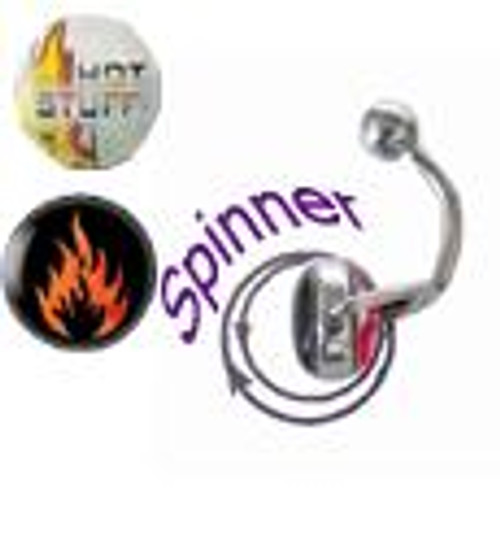 14G Belly Button Ring surgical steel with spinner and holographic design-2