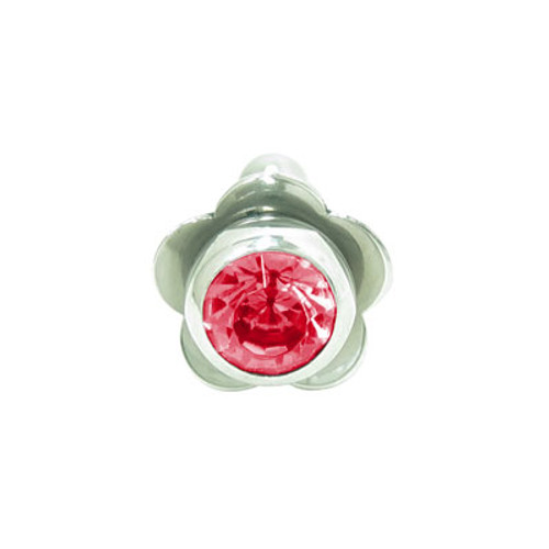 Barbell Tongue Ring Surgical Steel with Flower and Jewel Design-5