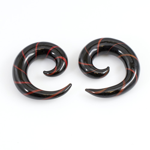 Pair of Black & Red Stripe Spiral Glass Tapers