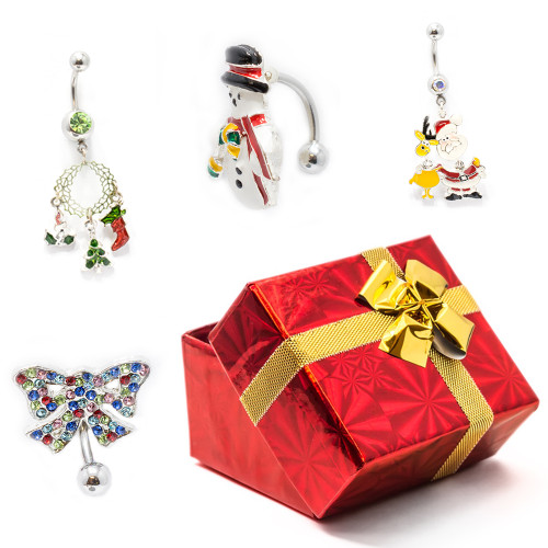 Pack of 4 Holiday Belly Button Rings with Gift Box #2-1
