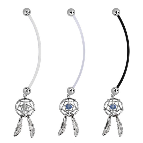 Flexi acrylic belly button ring for +Size 14g/1.6mm with 5mm steel balls-1