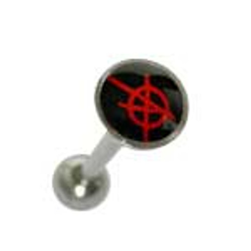 Body jewelry, 316L surgical steel with flat head and Logo, Barbell Tongue ring-1