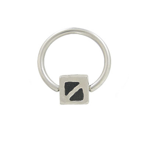 Captive Bead Ring Surgical Steel with Sterling Silver Replacement Bead-4