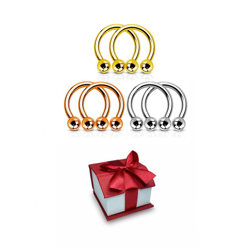 Holiday Gift set 3 pairs of circular Barbells can you be used almost in all piercing available in 14 gauge and 16 Gauge + Git Box-1
