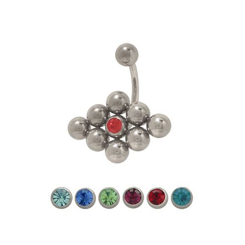 14 gauge Jeweled Belly Ring Surgical Steel-1