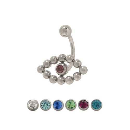 14 gauge Jeweled Belly Ring Surgical Steel-2