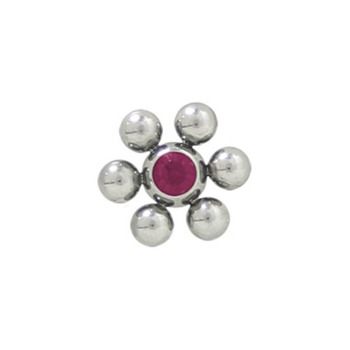 Jeweled Replacement Threaded Bead Flower Shape Surgical Steel -2