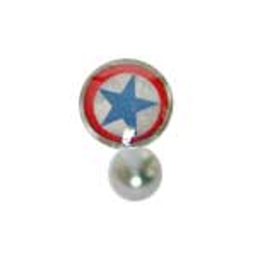 Body jewelry, 316L surgical steel with flat head and Logo, Barbell Tongue ring-2