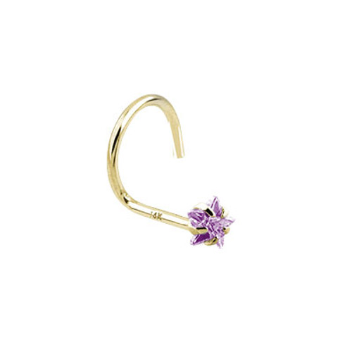 Nose Screw 14k Solid Gold with Star Shape Jewel -1