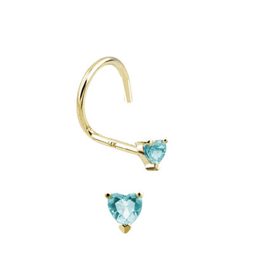 Nose Screw 14k Solid Gold with Heart Shape Jewel-1