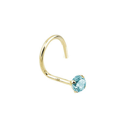 Nose Screw 14k Solid Gold with Round Shape Jewel-1