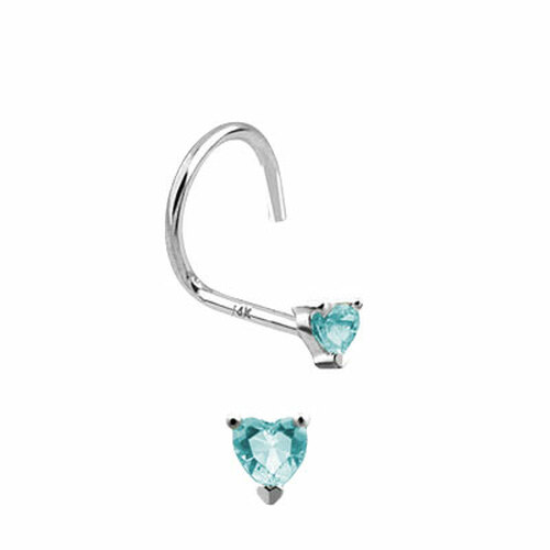Nose Screw 14k Solid White Gold with Heart Shape Jewel-1