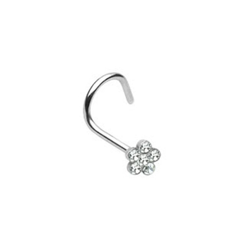 Nose Screw with Gem Paved Flower-1