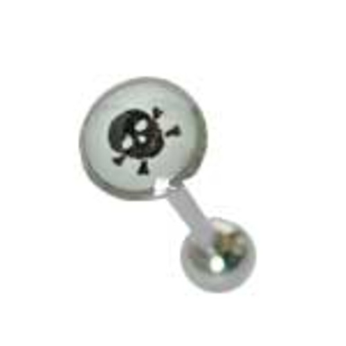 Body jewelry, 316L surgical steel with flat head and Logo, Barbell Tongue ring-3