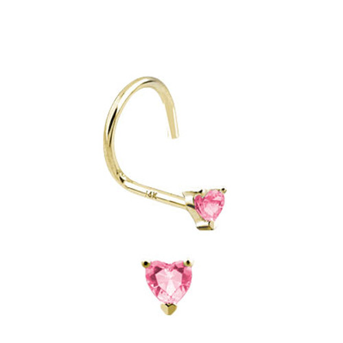 Nose Screw 14k Solid Gold with Heart Shape Jewel-2