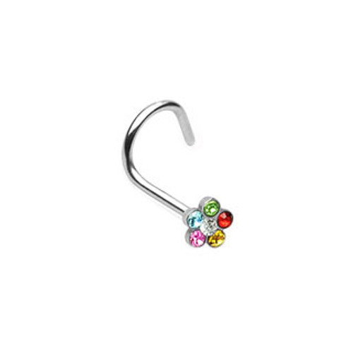 Nose Screw with Gem Paved Flower-2