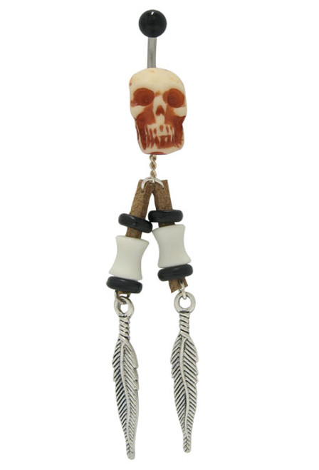 14 gauge Skull Head Belly Ring with Dangling Feathers-1