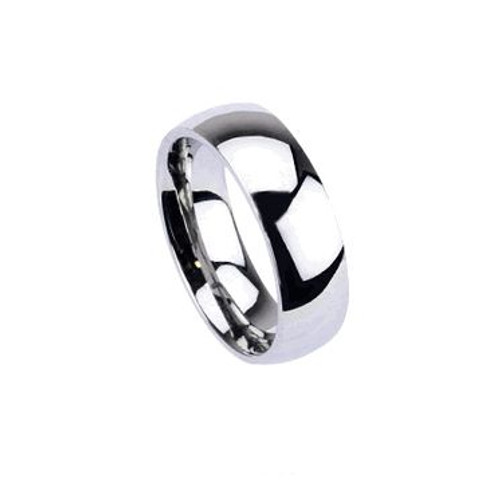 Stainless Steel Glossy Mirror Polished Traditional Wedding Band Finger Ring-1