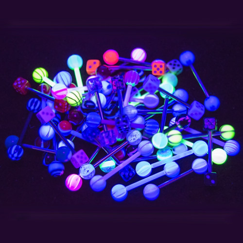 Tongue Nipple Piercing Barbells - 50pk 14ga UV Glow - 316L Surgical Steel and Bioflex